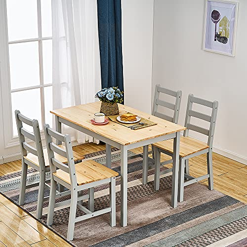 Panana Wooden Pine Dining Table with 4 Chairs in Choice of Colors Dining Room Furniture Set (Grey Pine)