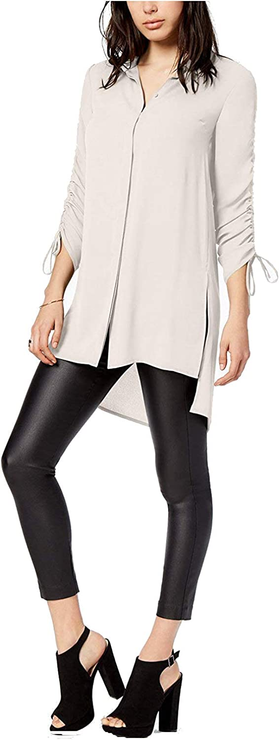 Bar III Womens HiLow Tunic ButtonDown Top