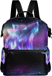 Oarencol Galaxy Wolf Forest Backpack Magic Animal Star School Book Bag Travel Hiking Camping Laptop Daypack