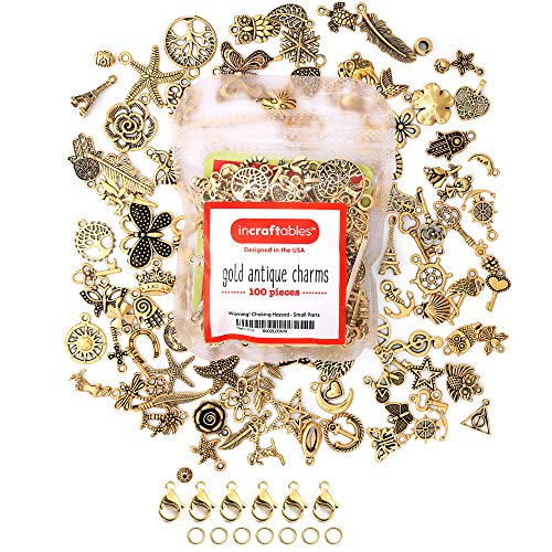Incraftables Gold Charms 100pcs PLUS 15pcs Clasps & Rings. Best Antique Metal Pendants for DIY Bracelet, Keychain, Necklace & Jewelry Making. Bulk Lot Assorted Charm set for Bangle & Crafting Supplies
