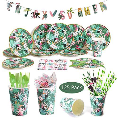 Amycute 125 piezas12 Invitados Vajilla de Hawaianos cumpleaños Adulto, Decoracion de Fiesta Tropical, Vajilla Diseño Flamenco Verde Desechable Vasos, Platos, Servilletas para Piscina de Verano