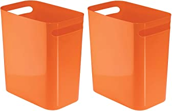 "InterDesign Una Waste, Trash Can for Bathroom, Kitchen, Bedroom-Set of 2, 12"" Inch, Orange"
