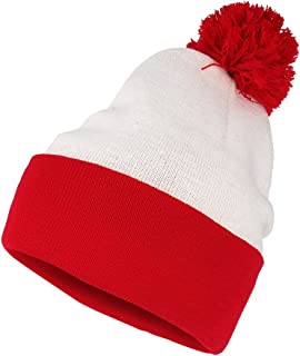 Red White Pom Pom Cuff Knit Beanie Hat