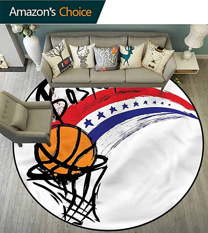 RUGSMAT Sports Small Round Rug Carpet Basketball Shoot Stars Rays Coffee Table Mat Non Skid Living Room Carpet Diameter 71