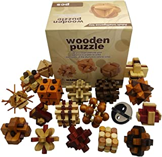 Joyeee 3D Wooden Brain Teaser Puzzle Diamond Cube Interlocking Jigsaw Puzzles for Teens and Adults #2 - Challenge Your Logical Thinking - Ideal Gift and Decoration Idea (Set of 18)
