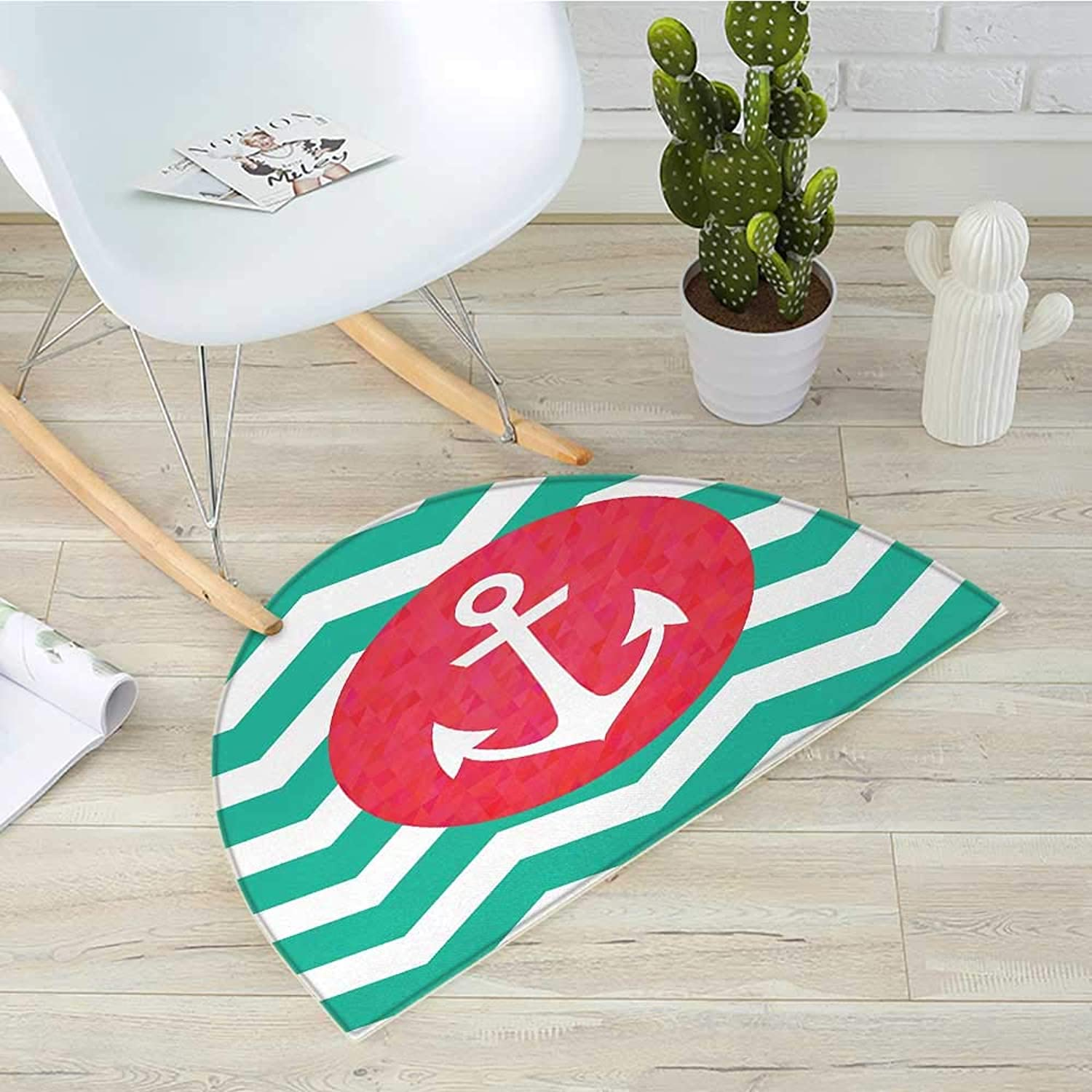 Anchor Semicircular CushionPattern of Anchors and Waves Stripes Classic Old Style Sailing Boat Swimming Entry Door Mat H 31.5  xD 47.2  Red Jade Green