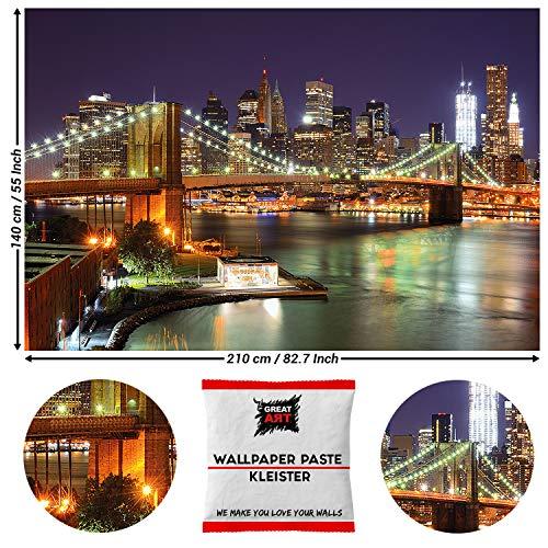 Great Art fotobehang Brooklyn Bridge 's nachts 210 x 140 cm - 5 Teile + Kleister Brücke