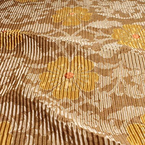 Stoff am Stück Stoff Seide Leinen Polyacryl beige champagner Blume Wellenoptik blickdicht