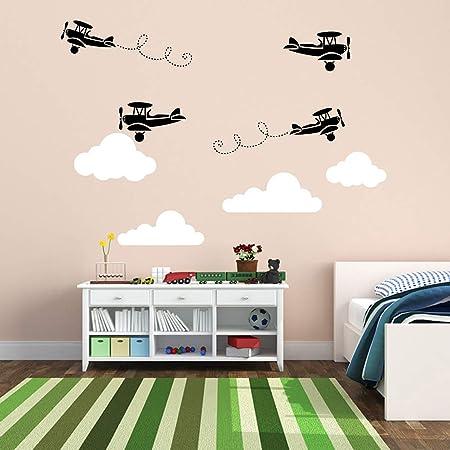 Custom NameFlying Paper Airplane Home Decor Child/'s Bedroom Nursery Baby Boy/'s Bedroom Playroom Vinyl Decal Wall Art Decor Sticker