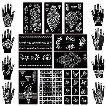 Koogel 18 Sheets Henna Tattoo Stencil Kit 97 Pcs Temporary Glitter Airbrush Tattoo Stencils Arabian Tattoo Stickers for Face Paint Body Art