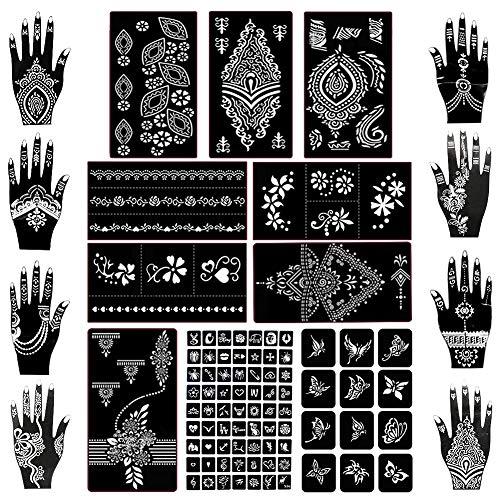 Koogel Henna Tattoo, 18 Blatt Henna Schablonen Glitter Tattoo Air Brush Tattoo für Frauen Mädchen Hände Finger Körperbemalung