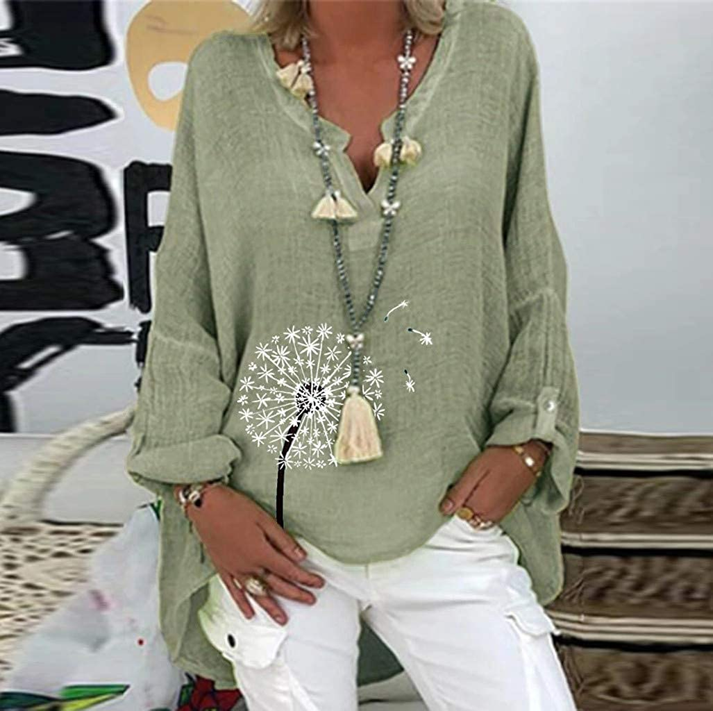 Aukbays Women's V Neck Cotton Linen Blouse Plus Size Long Sleeve Short Sleeve T Shirts Loose Fit Retro Casual Tops Tunic
