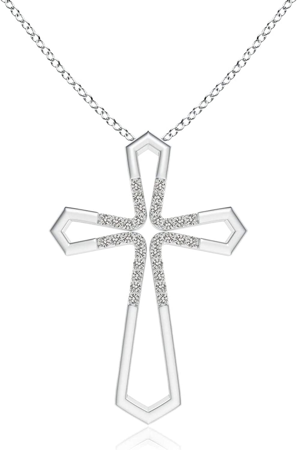 Cross Pendant Simulated Pink Diamond Round Cut Platinum Bonded Brass Without Chain TGW 3.60 cts.
