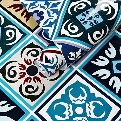 Tapete SelbstklebendeAufkleber Wasserdicht Badezimmer Toilette Fliesen Dekoration Tapete Küchenherd wasserdicht ölbeständige Tapete selbstklebend-Retro blaues Rautengitter_60 cm * 3 m