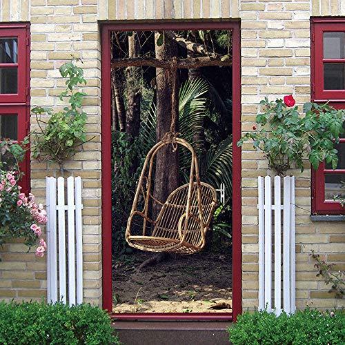 BXZGDJY 3D-deursticker, zelfklevend, muurschildering – schommelstoel creativiteit Pvc afneembare deur film DIY sticker bloem woonkamer slaapkamer kinderen restaurant kantoor bar deur kunst decoratie 80x200cm