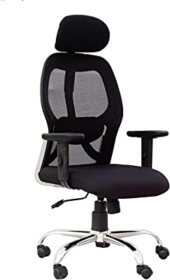 SEAT CHACHA KS Chairs Pollo Chrome Base High Back Adjustable Arms Office Chair (Black)