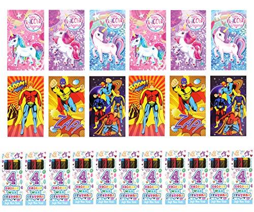 KINPARTY  - 6 Mini de Superhéroes, 6 mini libretas de Unicornio y 12 cajitas de ceras de colores – Ideales para regalos de cumpleaños, fiestas, celebraciones, relleno de piñatas y regalos