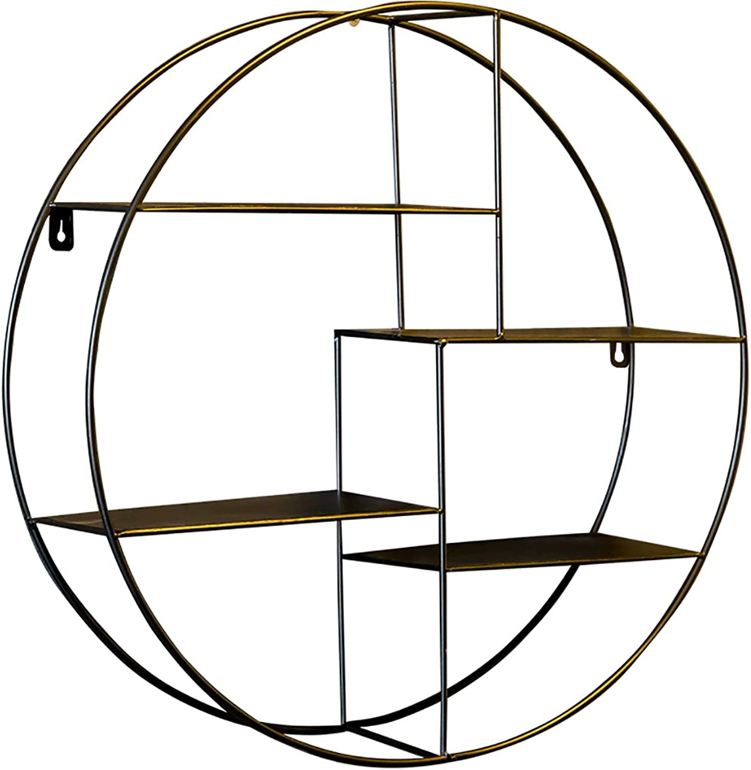 SYF Shelf Living Room Dining Room Wall Shelf Wall Iron Partition Wall Round Frame Wrought Iron Decorative Wall Hanging 50x50cm A+