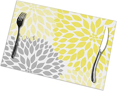 and blue two-sided  placemat,20x13 reversible placemat washed linen placemats Reversible linen placemats yellow,gray