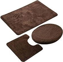 ESUPPORT European Style Bathroom Mats Set 3pcs Non Slip Bath Mat Rug, Solid Color Microfiber U Shaped Contour Rug Carpet, ...