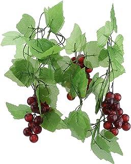 LUXWELL 人工観葉植物 つる植物 造花つる シミュレーションフルーツつき 人工つる 偽の果物つき デコレーション インテリア飾り 壁飾りつる,大きなブドウの木(2本入り)
