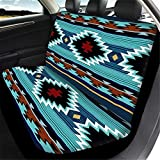 WELLFLYHOM Aztec Print Universal Rear Split Bench Seat Cover for Cars Truck SUV No Headrest Tribal Turquoise Geometric Stripe Design Back Seat Backrest Saddle Blanket Protector Set of 2