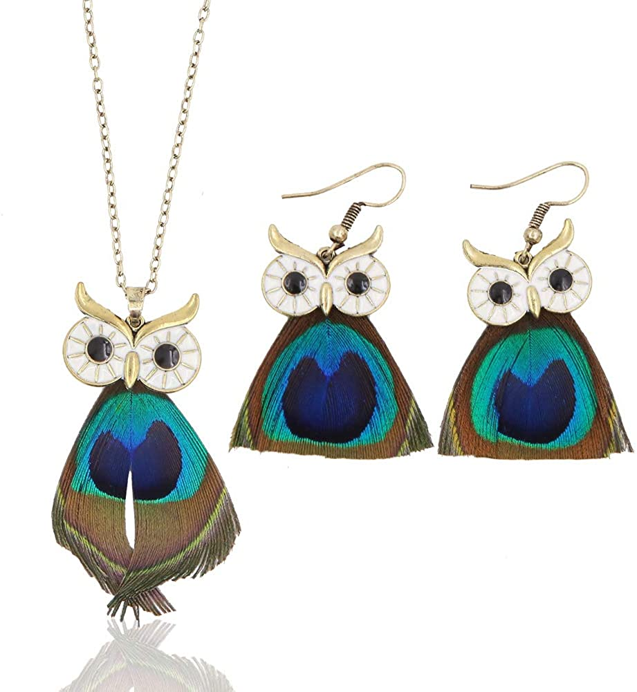 Apol Beautiful Owl Pattern with Peacock Feathers Jewelry Sets Includes 1 Owl Pendant Necklace Sweater Chain and 1 Pair of Owl Earrings for Women and Girl Decoration Gift