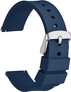 WOCCI Bracelets de Montres Silicone pour Smartwatch avec Boucle Argentée, Remplacement Dégagement Rapide pour Femme Homme ...