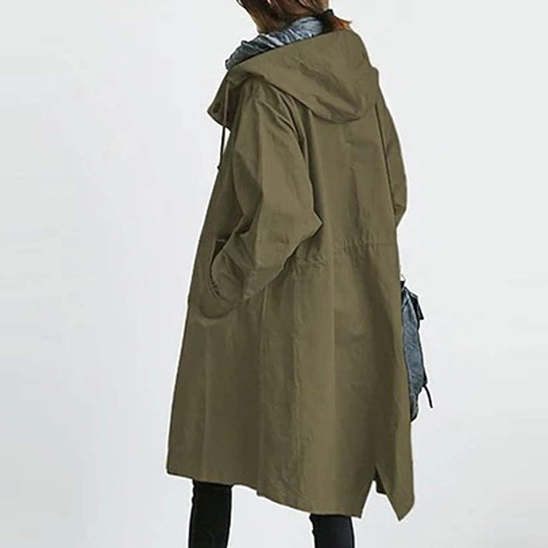 Lazzboy Winterjacke Damen Winter Loose Hooded Wild Windbreaker Bequeme Mantel Outwear Outdoorjacke übergangsjacke Mit Kapuze Herbstparka Jacke S-5XL Armeegrün