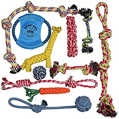 DOG ROPE TOYS FOR AGGRESSIVE CHEWERS – SET OF 11 NEARLY INDESTRUCTIBLE DOG TOYS – BONUS GIRAFFE ROPE TOY - BENEFITS NONPROFIT DOG RESCUE