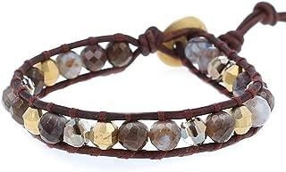 Chan Luu Mineral Stoneand Goldtone Bead Mix Single Wrap Bracelet Style