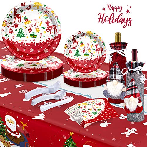 30 red Christmas Paper Plates and Napkins for 30 Guests Santa Christmas Decorations, Christmas Tableware, Christmas Party Supplies, Christmas Plates