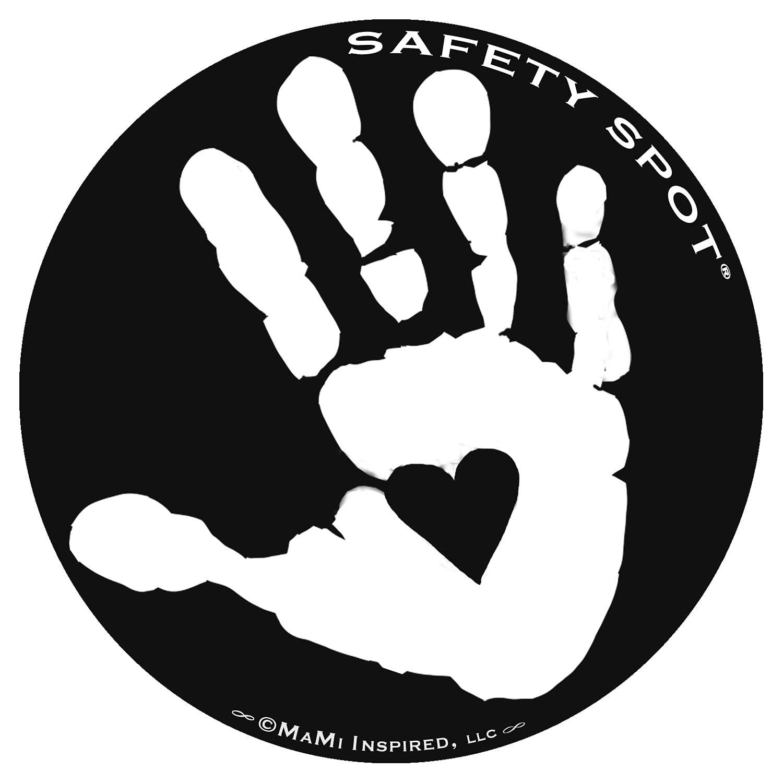 Safety Spot Magnet - Kids Handprint for Car Parking Lot Safety - Black Background (White)