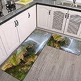 2 Piezas Alfombrillas de Cocina,Paisaje de montaña con Cascada en el Bosque Serbia Antideslizante Alfombra para Puerta de Baño Juego de alfombras Cocina Lavables