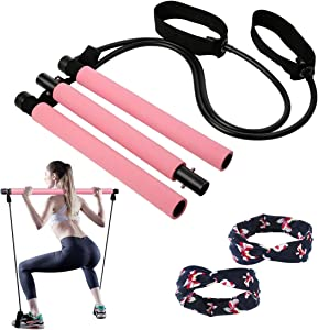 Pilates Stick Bar for Women & Men, All-in-one Training Equipment Pilates kit for Home Gym Workout Fitness Exercise with Foot Loops