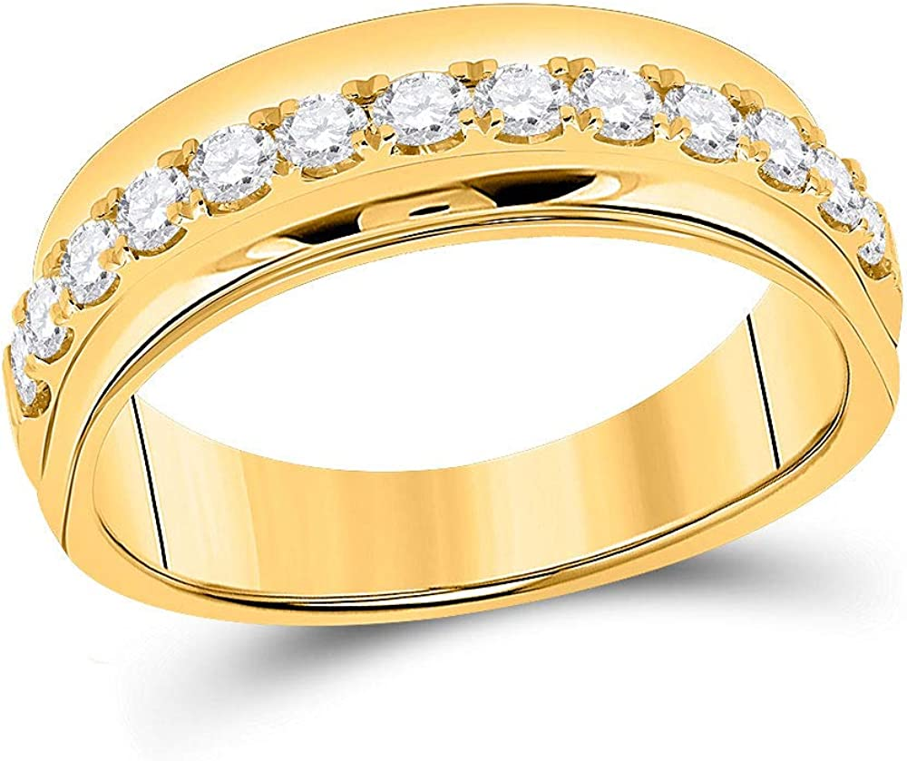 14kt Yellow Gold Mens Machine Set Round Diamond Band Wedding Max All items in the store 60% OFF Rin