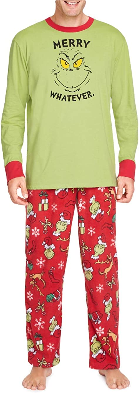 Dr. Seuss The Sale special price Limited price sale Grinch Merry Whatever PJ Super Men's Soft Pajamas