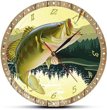 mazhant C'est Poisson O'Clock pêcheur Homme des cavernes Basse leurre Impression Couleur pêche Horloge Murale Cuisine