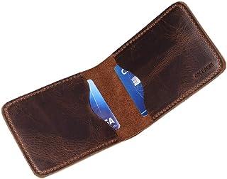 محفظة جلدية قابلة للطي أفقياً لغميضة وشرب، تحمل ما يصل إلى 8 بطاقات بالإضافة إلى الفواتير المسطحة / منظم النقود / أساسيات ...