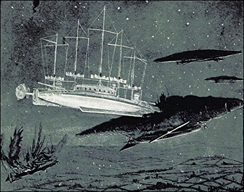 steampunk science fictions 8x10 Ramming The Spaceship, Steampunk Victorian Era Science Fiction Illustration (1893) by Frederick Thomas Jane from The Book The Angel of The Revolution, Sci Fi Art 8x10