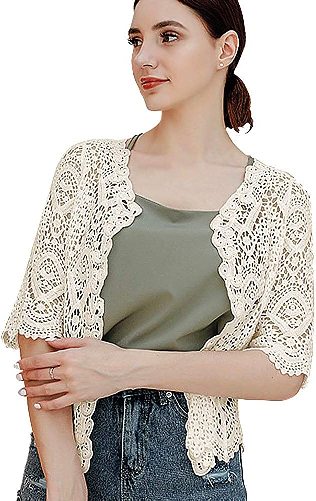 SMDPPWDBB Women's Half Sleeve Bolero Shrugs Crochet Lace Open Cardigan