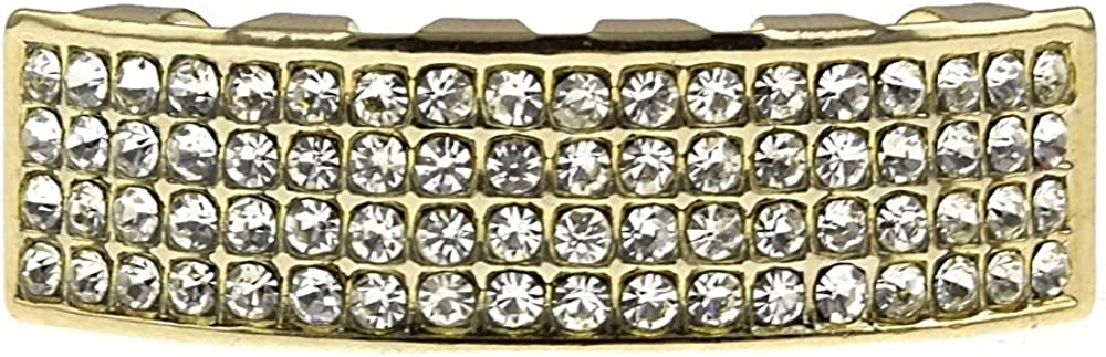 Bling Grillz Four Rows 4 Row Lines 14k Gold Plated Bottom Lower Teeth Hip Hop Mouth Grills