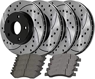 Prime Choice Auto Parts SRBRPKG00051 Rear Performance Silver Rotors Calipers and Ceramic Pads Set