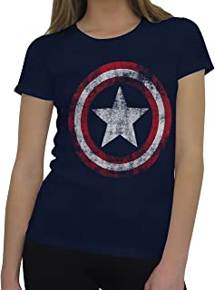 Marvel Captain America Classic Women's Distressed Symbol T-Shirt