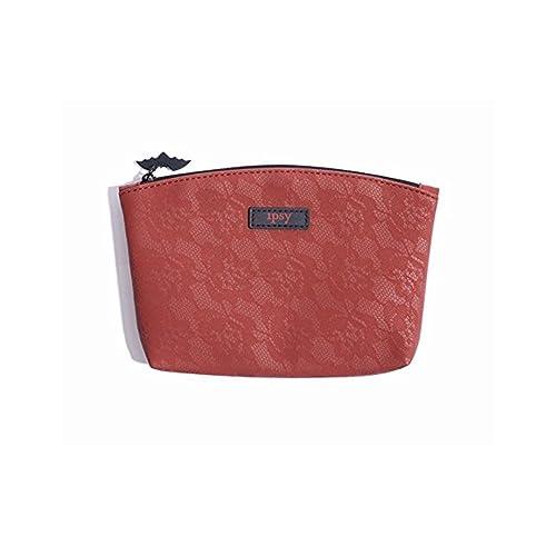 a9e10a92ca IPSY October 2017 Glam Bag - Red Crimson Rose Lace Design - Zippered Cosmetics  Bag -
