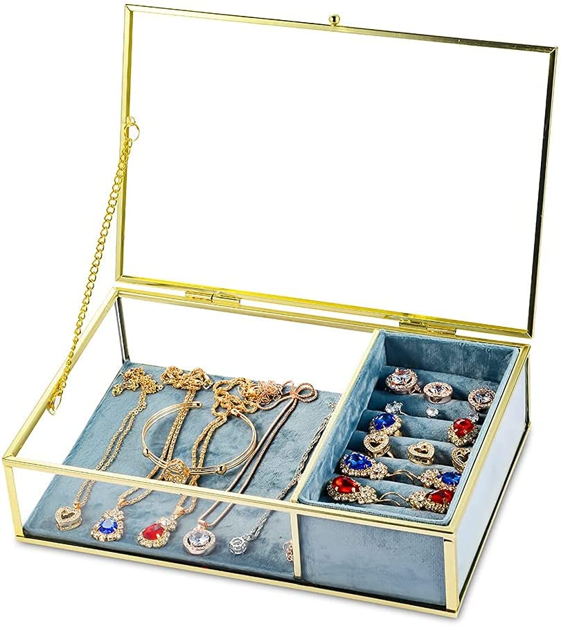 STAROGEGC Gold Clear Glass Jewelry Box, Vintage Velvet Jewelry Organizer Box, Modern Jewelry Storage Box for Earring Ring Bracelet and More, Decorative Gift for Vanity, Accent, Wedding Bridal Party(Glass Box with Blue Velvet Tray)