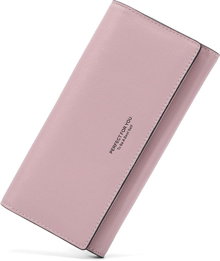 Lifeeasy, portafoglio, porta carte di credito, multitasche, in pelle, rosa