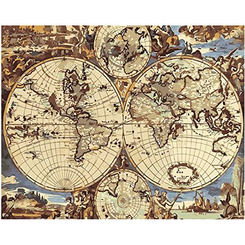 Pintura Digital DIY Enorme Mapa del Viejo Mundo Naturaleza Muerta Lienzo decoración de la Boda Imagen de Arte 40X50cm sin Marco