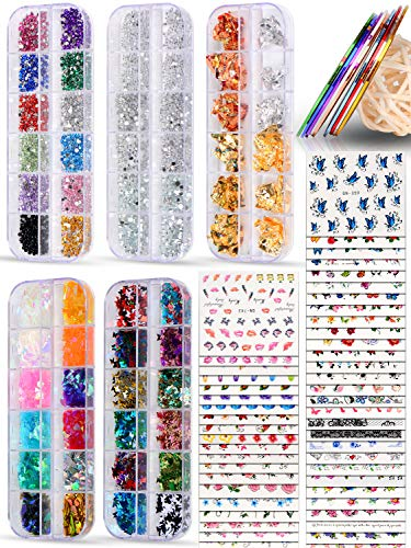 Spearlcable Nail Art Decoration Kit,50 Sheets Nail Stickers Crystal Rhinestones Set Holographic Butterfly Glitter Nail Foil Nail Tape Strips Iridescent Nail Sequins Flake for Acrylic Nail Art