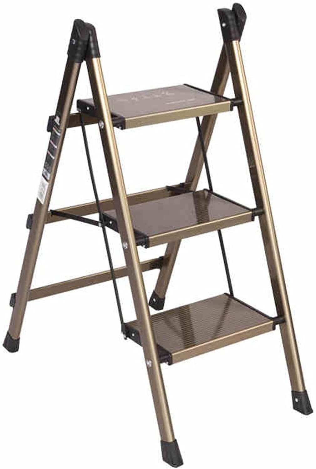 Kitchen Folding Ladders 2 Step, Household Aluminum Alloy Non Slip Safety Tread Step Stool for Indoor (Size   3 Step)